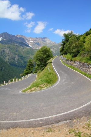 Italy, Stelvio National Park. Famous road to Gavia Pass in Ortler Alps. Alpine landscape. photo