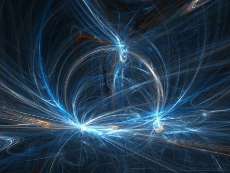 Graphics texture. Computer rendered background. 3D fractal. Blue magic rays. photo