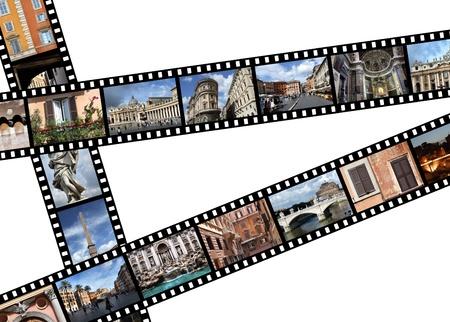 Tiras de película con fotos de viajes Roma, Italia, Europa Editorial