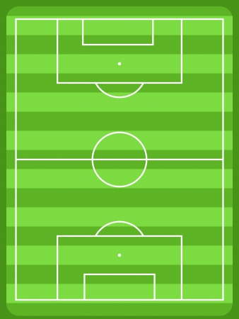 tactics: Football field diagram with white lines and green grass. Usable for drawing soccer team formations, strategy and tactics. Illustration