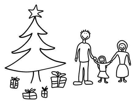 Happy family: mother, father and child. Christmas at home - Christmas tree and gifts. Child-like illustration. Stock Vector - 16756902