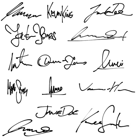 Signatures set - group of fictitious contract signatures. Business autograph illustration.