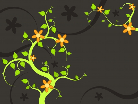 Floral ornament illustration with green leaves and orange flowers. Natural background with copyspace for your text. Vector