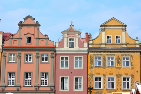 wielkopolska: Poznan, Poland - city architecture. Greater Poland province (Wielkopolska). Old colorful buildings at main square (Rynek). Stock Photo