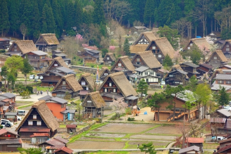 gifu: Japan - aerial view of Shirakawa-Go, famous village listed as UNESCO World Heritage Site. Gifu prefecture.