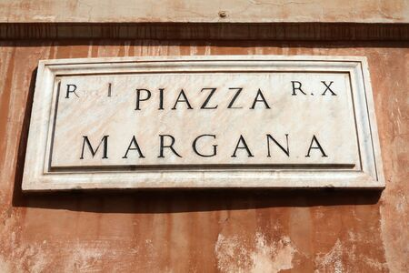 Piazza Margana - square name sign in Rome, Italy. Campitelli district. Stock Photo - 17096395