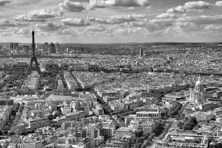 Paris, France - black-white cityscape with Eiffel Tower.  photo