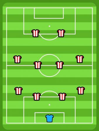 Soccer field illustration. Football tactics and strategy - popular 4-4-2 team formation. Vector