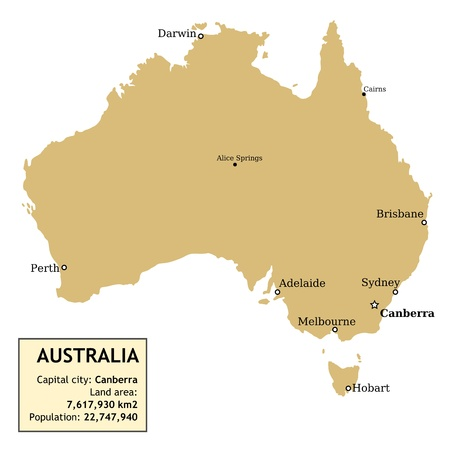Map of Australia with all important cities and information data table. Vector