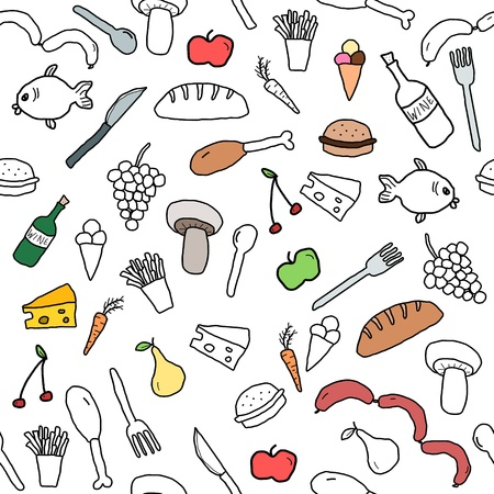 food groups: Seamless pattern with food and beverage icons and symbols. Cuisine background doodle.