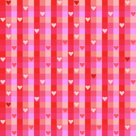 Checkered background illustration with hearts. Colorful checkered seamless pattern for Valentine's Day wrapping paper. Stock Vector - 17070634