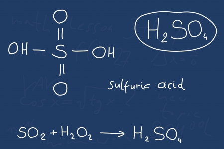 Hand written scribble illustration - inorganic chemistry lesson. Sulfuric acid, inorganic mineral acid compound - molecule structure. Vector