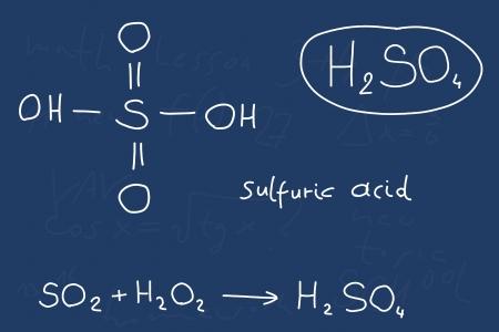 sulphuric acid: Hand written scribble illustration - inorganic chemistry lesson. Sulfuric acid, inorganic mineral acid compound - molecule structure. Illustration