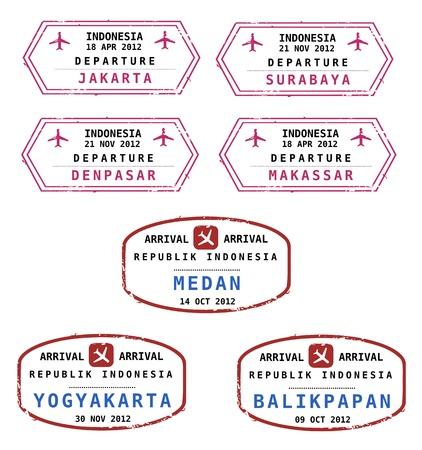 Travel stamps from Indonesia. Grungy stamps (not real). Indonesian destinations: Jakarta, Surabaya, Denpasar, Makassar, Medan, Yogyakarta and Balikpapan. Stock Vector - 17070629