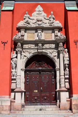norrmalm: Stockholm, Sweden - Saint Jamess Church door in Norrmalm district. Stock Photo