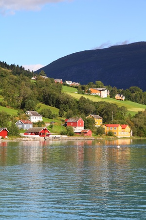 olden: Norway, Sogn of Fjordane county. Rural architecture next to Nordfjord in Olden. Stock Photo