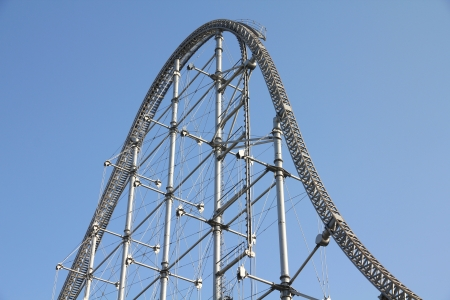 Rollercoaster track in an amusement park in Tokyo, Japan