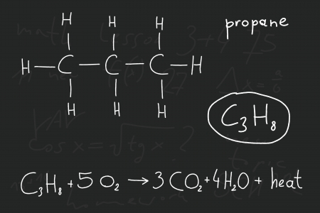 saturated: Hand written scribble illustration - organic chemistry lesson. Propane, organic alkane (saturated hydrocarbon) compound - molecule structure.