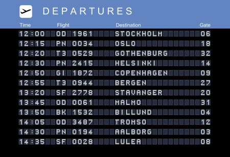 Departure board - destination airports. illustration. Nordic destinations: Stockholm, Oslo, Gothenburg, Helsinki, Copenhagen, Bergen, Stavanger, Malmo, Billund, Tromso, Aalborg and Lulea. Vector