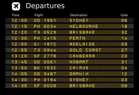 Departure board - destination airports.  illustration. Australia destinations: Sydney, Melbourne, Brisbane, Perth, Adelaide, Gold Coast, Canberra, Hobart, Cairns and Darwin. Vector