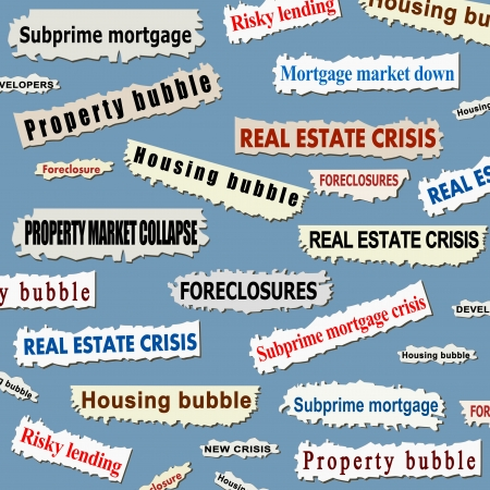 Newspaper cuttings and headlines. Housing market crisis - property bubble collapse news.