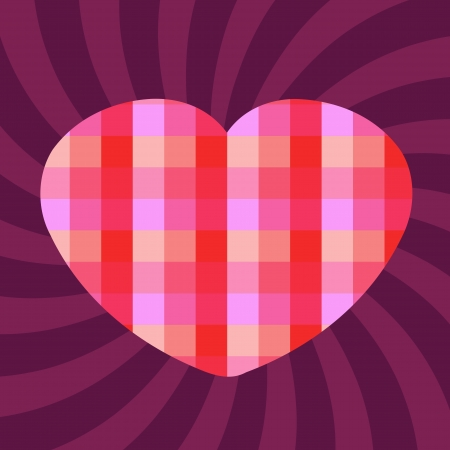 Romantic celebration background for Valentine's Day. Heart and concentric rays backdrop. Pixel checkered heart - digital love. Stock Vector - 17376218
