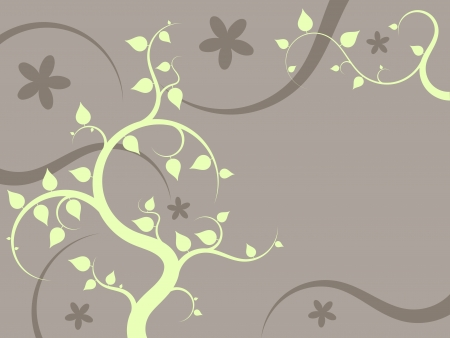 Floral ornament illustration with green leaves and orange flowers. Natural background with copyspace for your text. Stock Vector - 17376226