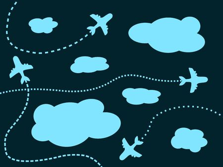 flightpath: Air travel background - airline routes, sky and clouds illustration