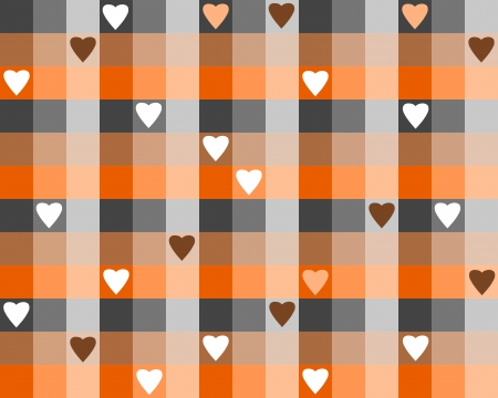 Checkered background illustration with hearts. Colorful checkered seamless pattern for Valentine's Day wrapping paper. Vector