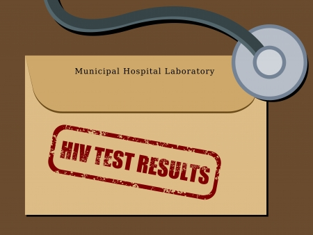 Medical patient file folder - HIV test results in an envelope. Healthcare concept. Vector