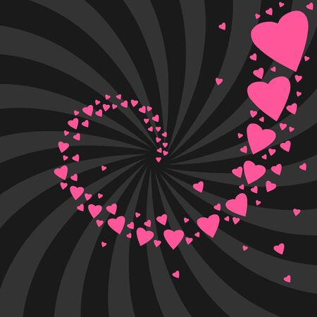 Romantic celebration background for Valentine's Day. Hearts and concentric rays backdrop. Love whirl. Stock Vector - 17419480