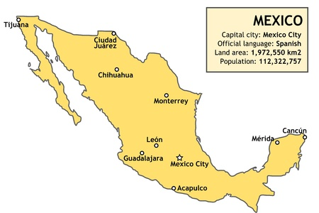 monterrey: Outline map of Mexico with major cities and a basic country information data table. Illustration