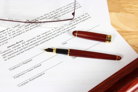 Business objects - full time employment contract ready to sign with ink pen. Stock Photo - 17480571