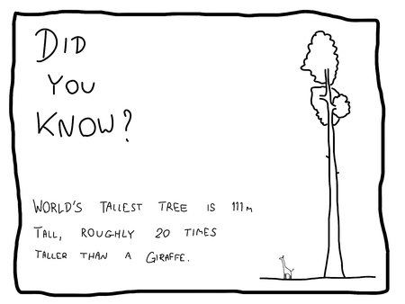Fun fact trivia - useful doodle illustration usable as a webcomic or for funny section of a newspaper. Illustration