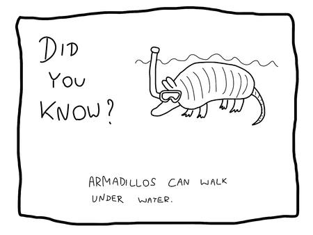 Leuk feit trivia - handig doodle illustratie bruikbaar als een webcomic of grappige gedeelte van een krant.