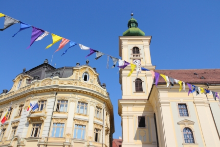 Sibiu, town in Transylvania, Romania  City hall and church  Stock Photo - 17526629