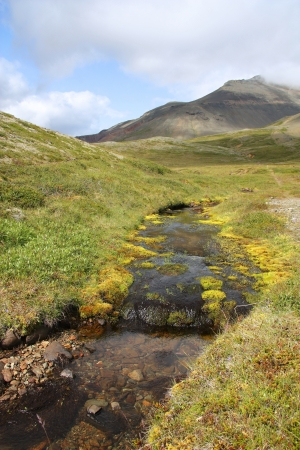inactive: Iceland - Lonsoraefi and Stafafellmountains. Inactive volcano and small stream. Stock Photo