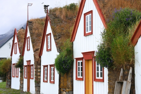 Iceland - typical rural turf houses. Old architecture with grassy roof - Laufas. Stock Photo - 17526647