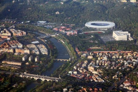 tiber: Rome, Italy - aerial view with Tiber river and famous stadium. Stock Photo