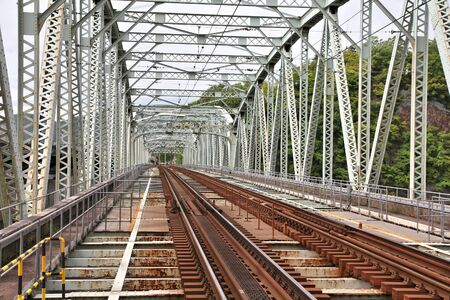 chubu: Inuyama, Japan - town in Aichi prefeture of the region Chubu. Railway bridge over Kiso river. Stock Photo