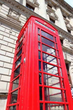 London, United Kingdom - red telephone booth typical for England photo