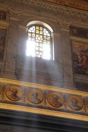 ROME - MAY 13: Interior of famous Basilica of St Paul Outside the Walls on May 13, 2010 in Rome. It exists since 4th century and current architecture dates back to 1823. It is a UNESCO World Heritage Site.