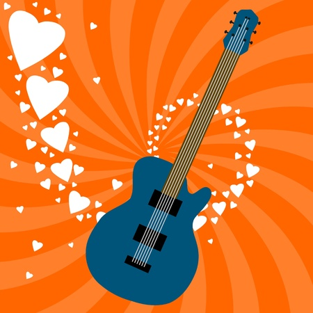 Music love theme - electric guitar background illustration. Rock band concept. Vector