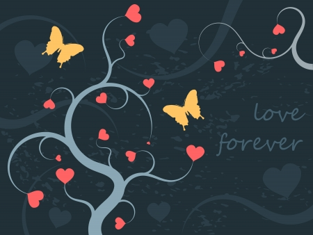 Floral ornament illustration with hearts for Valentines Day. Love background. Vector