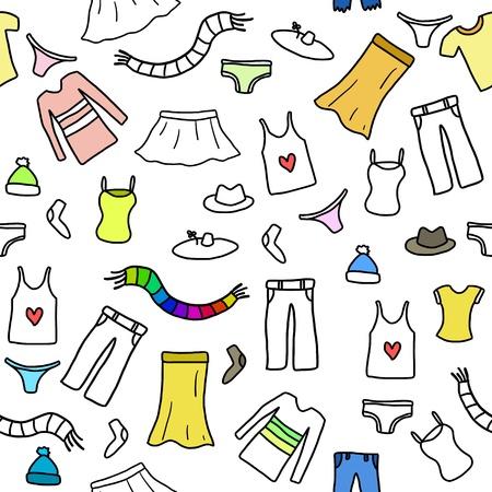 Nahtlose Muster Mode, Kleidung und Accessoires Icons und Symbole. Fashion Thema Hintergrund doodle.