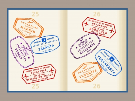 Colorful visa stamps (not real) on passport pages. International business travel concept. Frequent flyer visas. Vector