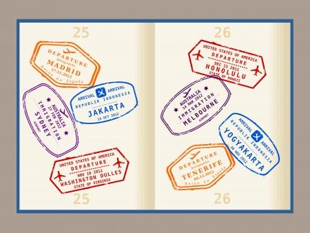 Coloridos sellos de visado (no real) de las páginas del pasaporte. Los viajes internacionales de negocios concepto. Visas de viajero frecuente. Ilustración de vector