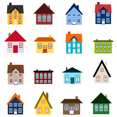 colourful houses: Conjunto House - colecci�n colorido icono de inicio. Ilustraci�n de grupo. Arquitectura residencial privado.