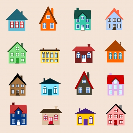 residential neighborhood: House set - colourful home icon collection. Illustration group. Private residential architecture.
