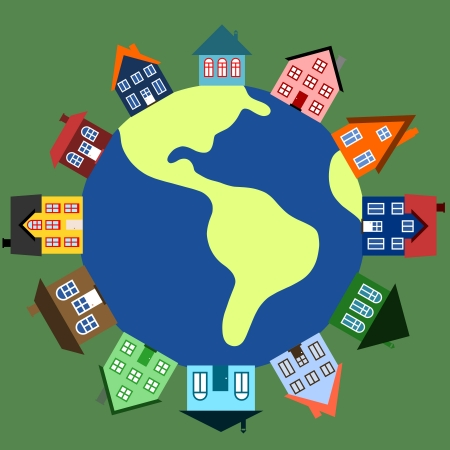 global village: Global community - earth and houses. World with buildings illustration. Illustration